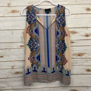 Cynthia Rowley Paisley Sleeveless Tank Career Top